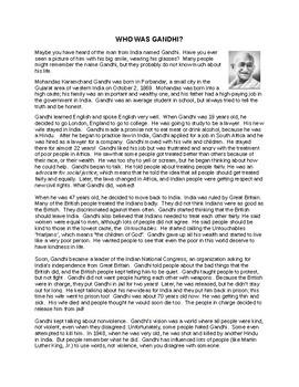 Who Was Gandhi? Reading Comprehension