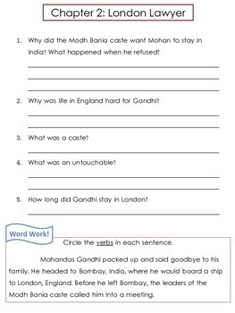 Who Was Gandhi? by Dana Meachen Rau Comprehension Worksheets and Word Work