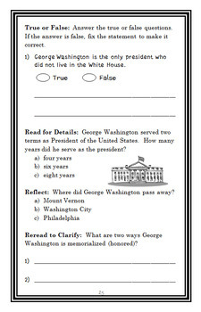 Who Was George Washington? (Roberta Edwards) Book Study / Comprehension (30 pgs)