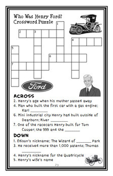 Who Was Henry Ford? (Michael Burgan) Book Study / Comprehension   (29 pages)