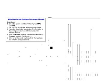 Who Was Jackie Robinson? Crossword Puzzle