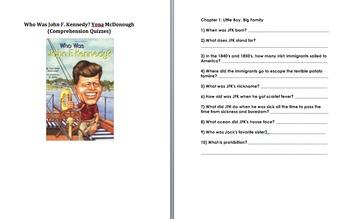 Who Was John F. Kennedy JFK: McDonough Comprehension Quizzes (six) w/ answers