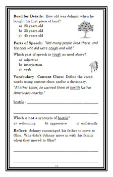 Who Was Johnny Appleseed? (Joan Holub) Book Study / Comprehension  (26 pages)