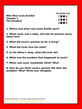 Who Was Louis Braille Book Unit