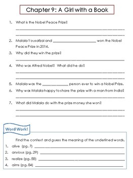 Who Was Malala Yousafzi? by Dinah Brown Comprehension Worksheets and Word Work