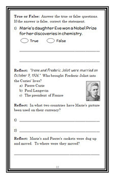 Who Was Marie Curie? (Megan Stine) Book Study / Comprehension  (27 pages)