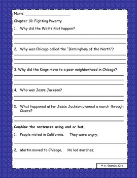 Who Was Martin Luther King Jr. Comprehension Questions