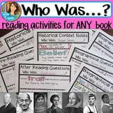 Who Was? Biography Series- Reading Activities for ANY Who Was Book EXPANDED