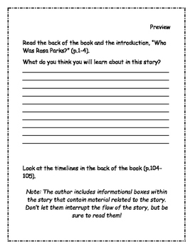 Who Was Rosa Parks? Comprehension Packet