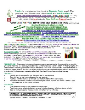 St. Patrick Grammar Practice: Parts of Speech (2 Pages, Ans. Key Inc., $1.50)