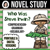 Who Was Steve Irwin? *NO-PREP* Novel Study Distance Learning