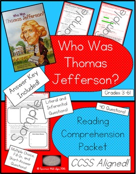 Who Was Thomas Jefferson? - Reading Comprehension Packet