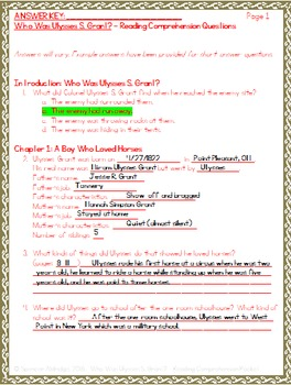 Who Was Ulysses S. Grant? - Reading Comprehension Packet