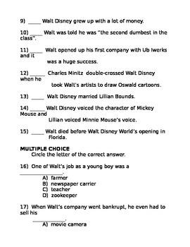 Who Was Walt Disney? Test