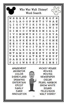 Who Was Walt Disney? (Whitney Stewart) Book Study / Reading Comprehension