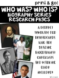 Who Was? Who Is? Biography Series Research Pages