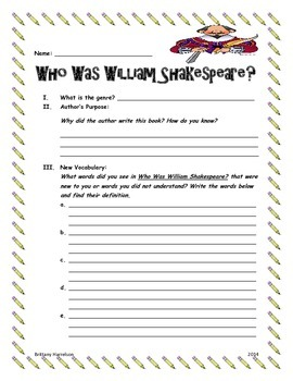 Who Was William Shakespeare Book Study