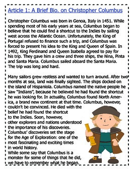 Who Was the REAL Columbus? A Close Read Using Lyrics and Articles for 4th-6th
