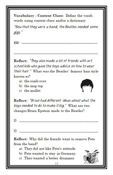 Who Were The Beatles? (Geoff Edgers) Book Study / Comprehension (28 pages)