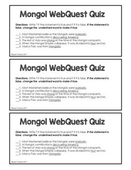Who Were the Mongols? WebQuest