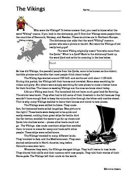 Who Were the Vikings? Reading Worksheet