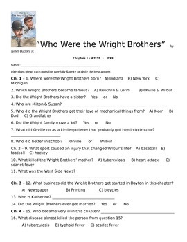 Who Were the Wright Brothers - Chapters 1 - 4 TEST