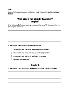 Who Were the Wright Brothers? Reading Guides
