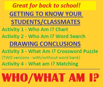 Who / What AM I? Activities