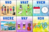 Who, What, When, Where, Why, How: English Poster