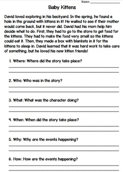 Key Ideas and Details - Who, What, When, Where, Why, How... FREEBIE!