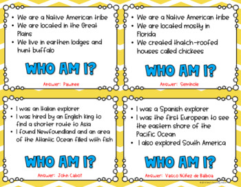 Who, What, Where Am I? Important People/Places/Things in History Game - 3rd