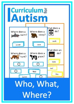 Autism, Who, What, Where Questions Task Cards, Special Edu