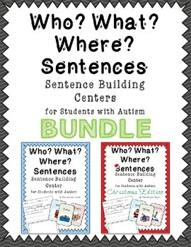Who What Where Sentence Writing Center Bundle