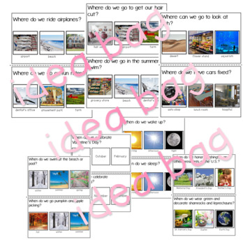 Who, What, Where, When Questions with Real Pictures Bundle (Speech Therapy)