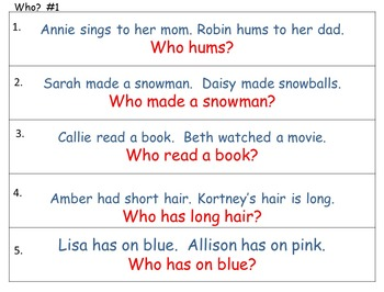 Who What Where When - Reading for Details: A beginning point