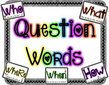 Who, What, Where, When, Why, How Question Cards
