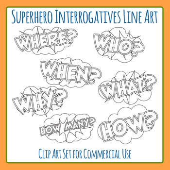 Who, What, Where, When, Why, Who, How Interrogatives Line Art Commercial Use