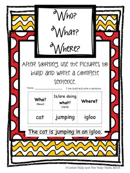Who? What? Where? Writing Complete Sentences: Center, Posters, and More!