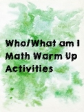 Who/What am I? Fun Math Worksheets || Warm Ups