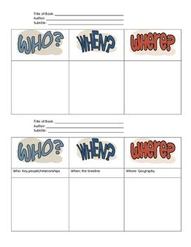 Who, When, Where Graphic Organzier
