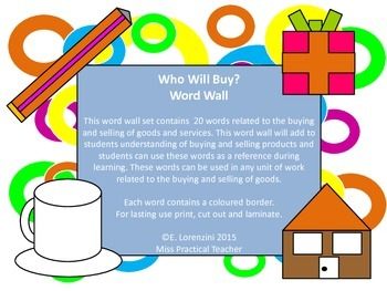 Who Will Buy? Word Wall