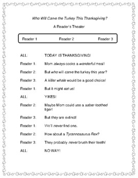 Who Will Carve the Turkey This Thanksgiving?  -- A Thanksgiving Reader's Theater