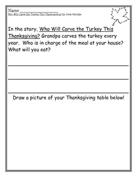 Who Will Carve the Turkey This Thanksgiving? writing pages