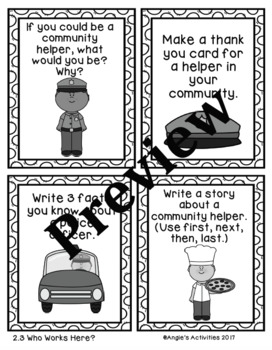 Who Works Here Writing Prompt Cards (Reading Street 1.2.3)