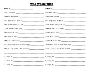 Who Would Win (Animals) Research Notes