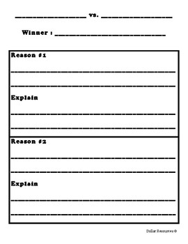 Who Would Win Graphic Organizer