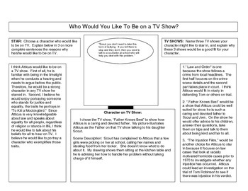 Who Would You Like To Be On TV  (Literature Worksheet on Characterization.