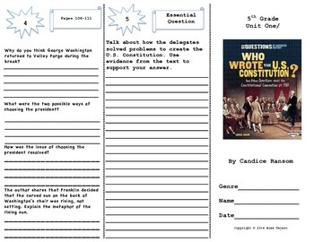 """Who Wrote the U.S. Constitution"" Trifold Activity, Reading Wonders 5th Grade"