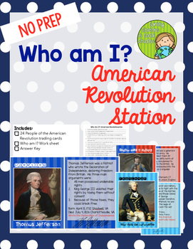 Who am I? American Revolution Trading Card set