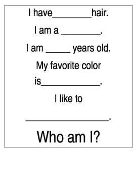 Who am I? Beginning of the year activity